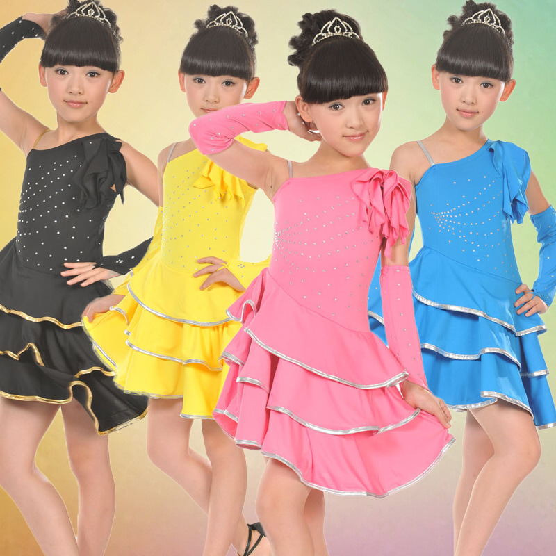 Fashion 2016 NEW Girls Performance Stage Wear Costume Children Latin Salsa Ballroom Dance Tutu Dress S0204 3colors 100 160cm height kids child girls tassel dress ballroom latin salsa fashion dancewear dance costume dresses gifts