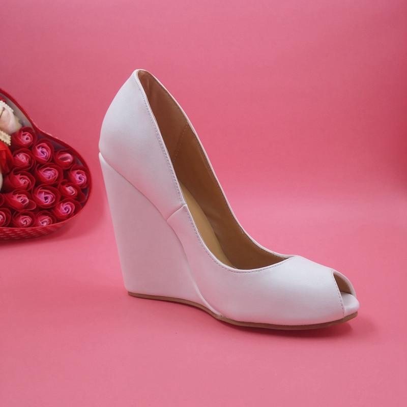 Elegant White Peep Toe Dress Shoes Summer Style Slip-ons Sandal Wedges For Wedding High Heels Plus Size US14 Women Shoes
