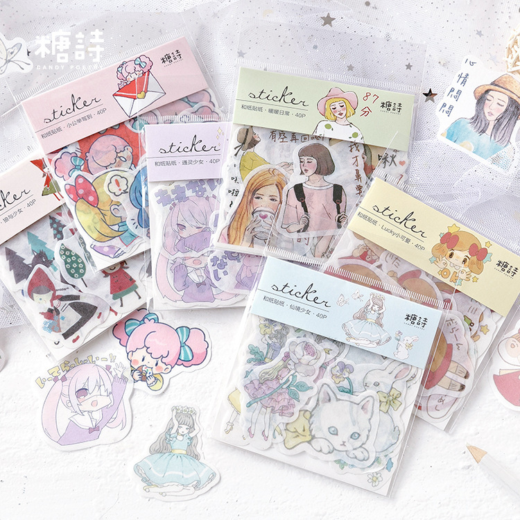 Lucky Wonderland Girl Bullet Journal Decorative Stickers Scrapbooking Stick Label Diary Stationery Album Stickers
