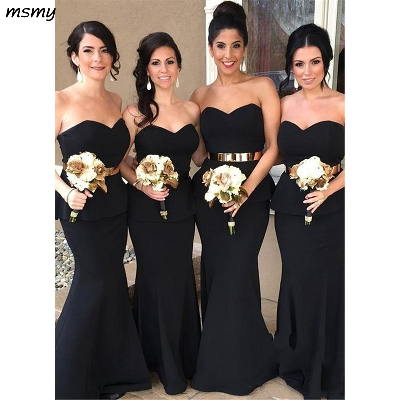 New Simple Sweetheart Black Mermaid Long Bridesmaid Dresses Maid of the Honor Dresses LongProm Gown For