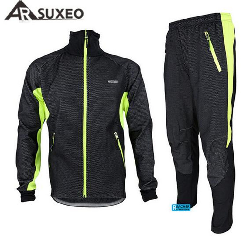 цена на ARSUXEO Men's Windproof Bike Bicycle Wind Coat Fleece Thermal Winter Cycling Jacket Clothing Long Sleeve Jersey with Pants Set