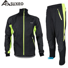 ARSUXEO Men's Windproof Bike Bicycle Wind Coat Fleece Thermal Winter Cycling Jacket Clothing Long Sleeve Jersey with Pants Set mini electric eye massage device pen type electric eye massager dark circle wrinkle removal instrument nutrition introduce pen