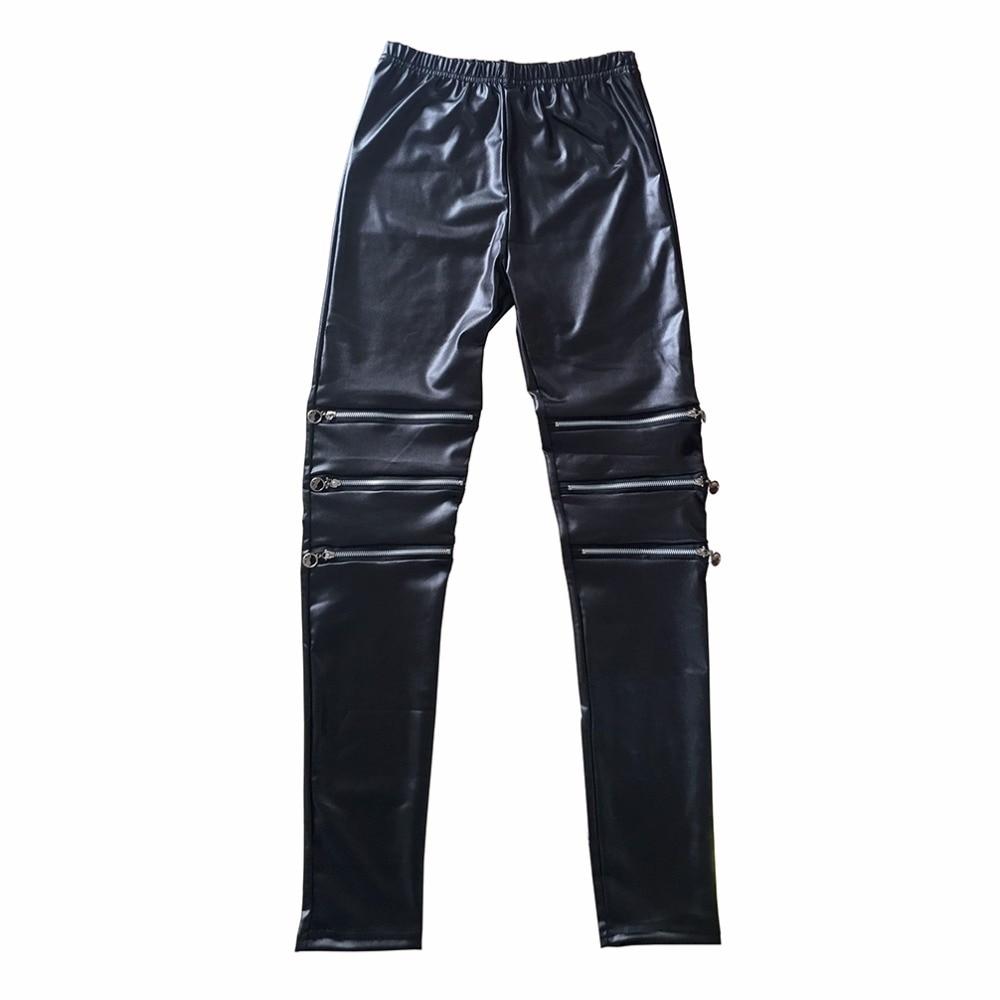 2017 Summer Autumn three zipper sexy elasticity leather leggings leather women pants female Punk Fitness Women clothing legging