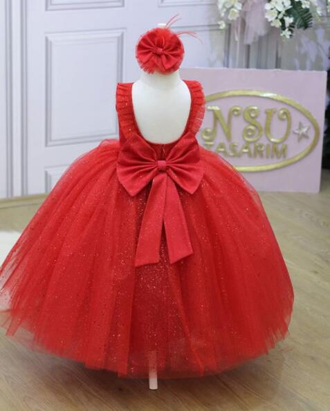 Bling bling tulle open back Floor length little princess red ball gown Pageant dress for girl glitz and Easter celebration spaghetti strap chiffon open back dress