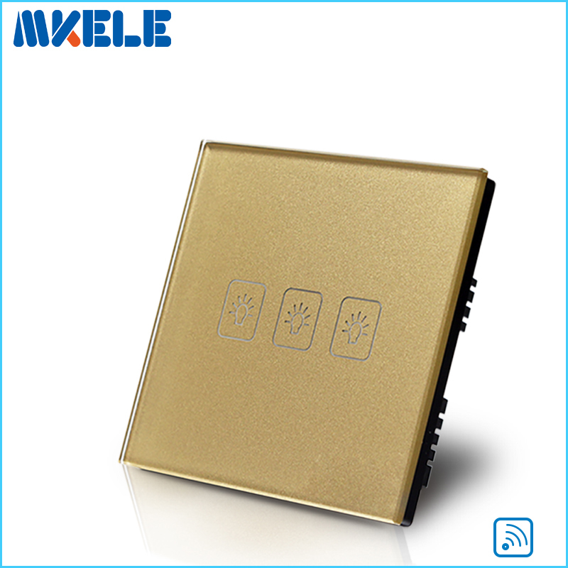 Remote Switch Wall Light  Free Shipping 3 gang 1 way Remote Control Touch Switch UK Standard Gold Crystal Glass Panel+LED smart home us au wall touch switch white crystal glass panel 1 gang 1 way power light wall touch switch used for led waterproof