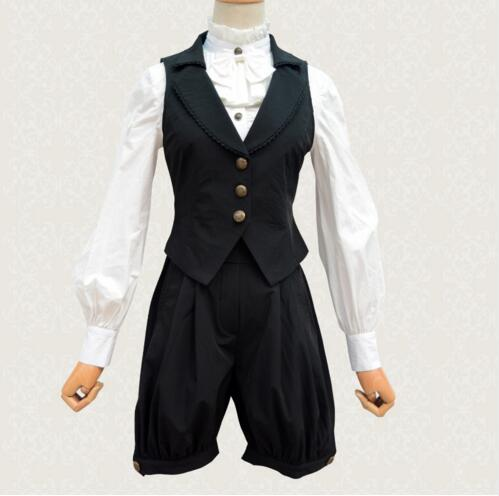 ФОТО Vintage Women's Black Suit Two Piece Set Cool Single Breasted Vest and Shorts