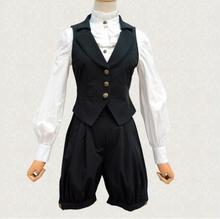 Vintage Women's Black Suit Two Piece Set Cool Single Breasted Vest and Shorts