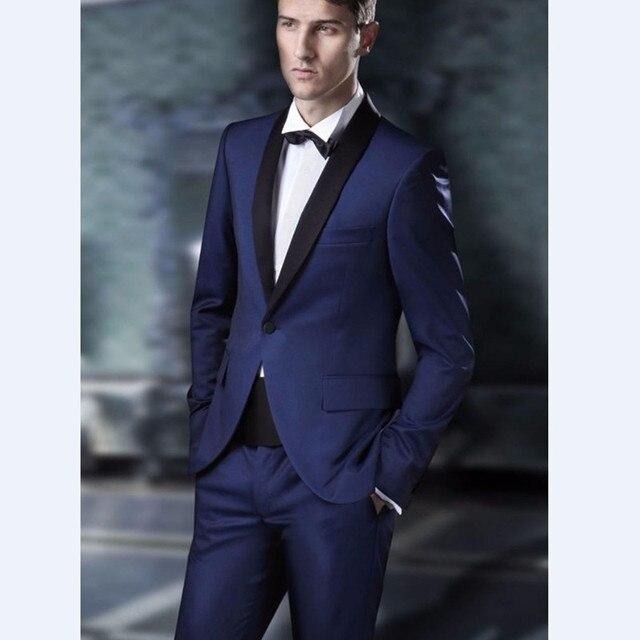 Custom Made Groomsmen Shawl Black Lapel Groom Tuxedos Navy Blue ...