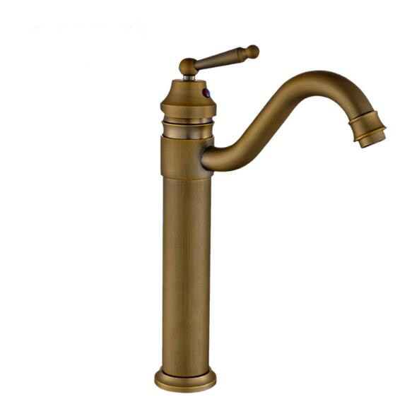 Hot and cold water tall basin faucet bathroom kitchen retro antique mixer sink taps deck mounted brass finish washbasin faucets becola basin faucets antique bronze brass bathroom sink faucet 360 degree swivel hot and cold water basin mixer washbasin taps