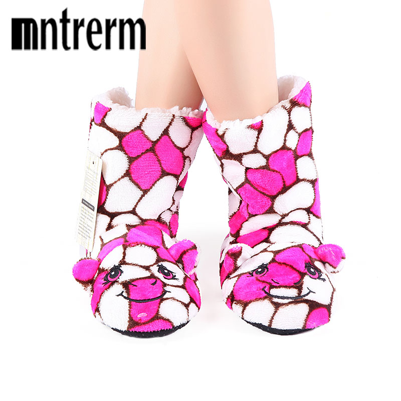 Mntrerm 2017 Candy Colors Winter Animal Slippers Women Cute Stone pattern Slippers Cartoon Soft Plush Indoor Warm Home Slippers soft plush big feet pattern novelty slippers