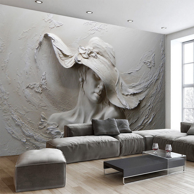Custom 3D Embossed Cement Characters Sculpture Wall Cloth Mural Wallpaper Living  Room Bedroom Modern Art Background