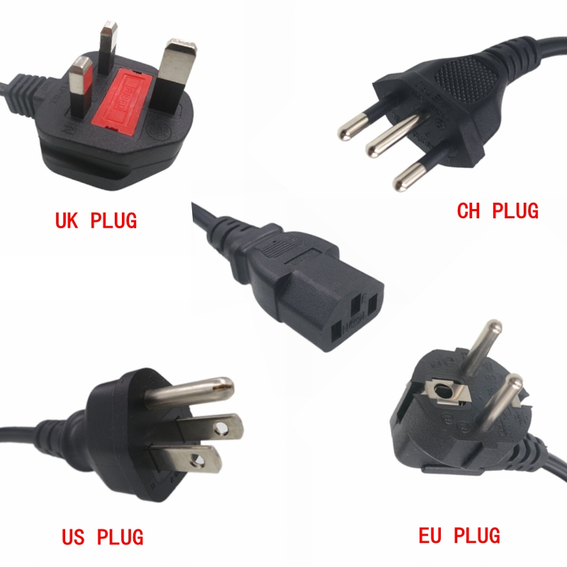 1 piece best price Universal 3 pin Power cable 1 2m plug UK EU US AU plug for desktop printers monitors in Portable Lighting Accessories from Lights Lighting