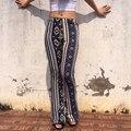 European American Fashion Women High Waist Pants New Arrival Tribal Stripe Print Flare Pants Stretch Slim Boho Trousers