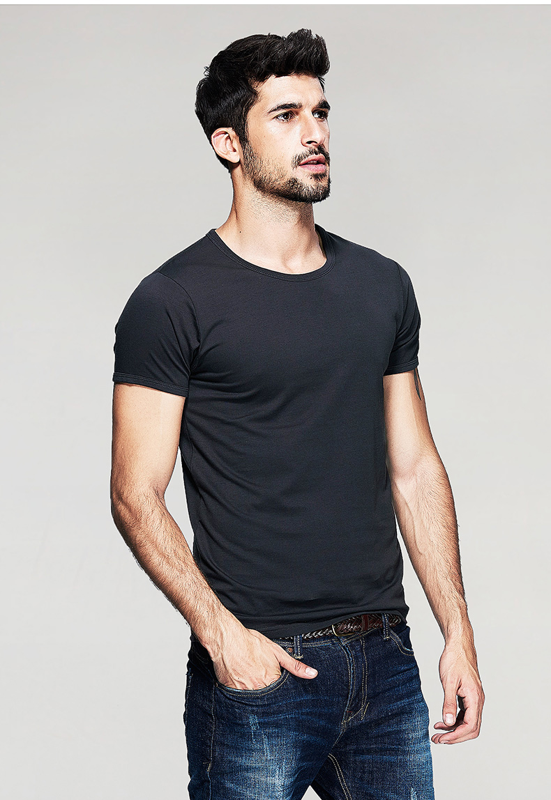 KUEGOU Summer Mens Casual T Shirts 10 Solid Colors Brand Clothing Man's Wear Short Sleeve Slim T-Shirts Tops Tees Plus Size 601 47