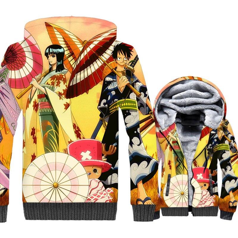 Anime Jackets Men One Piece 3D Hoodie Luffy Sweatshirt Thick Fleece The Pirate King Coat Tony Chopper Franky Brook Streetwear