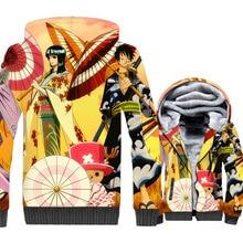 цена на Anime Jackets Men One Piece 3D Hoodie Luffy Sweatshirt Thick Fleece The Pirate King Coat Tony Chopper Franky Brook Streetwear