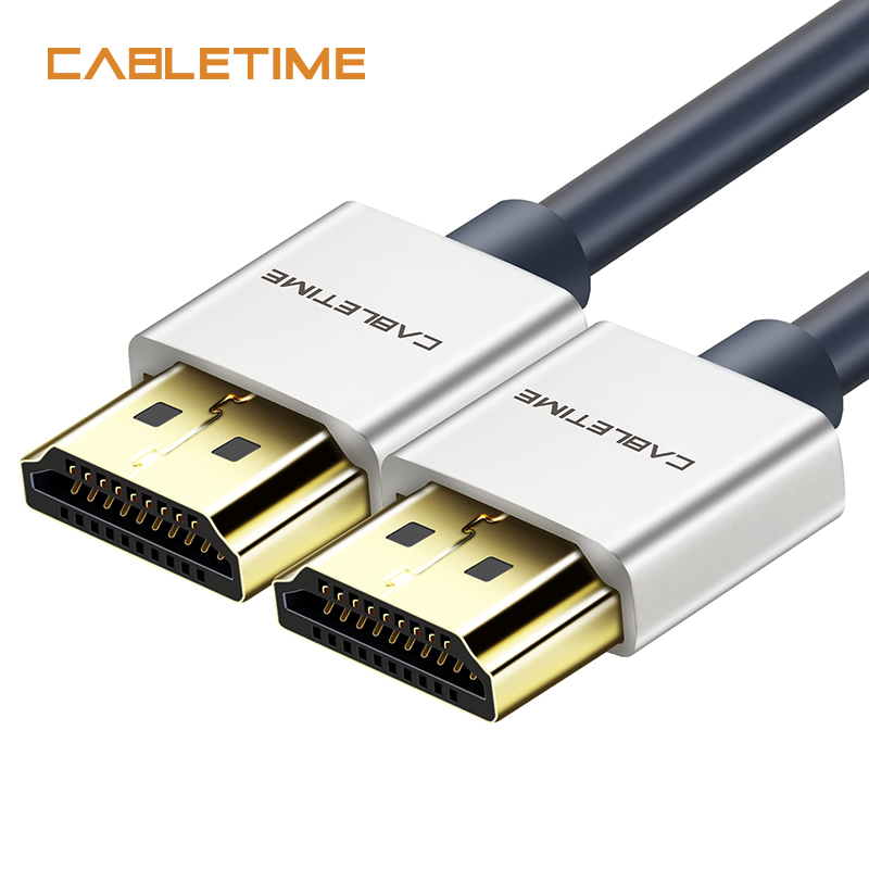 Cabletime HDMI Cable Male to Male Zinc Alloy HDMI to HDMI 2k*4k 2.0 Slim HDMI Cable for PS3 PS4 TV Laptop Projector Cable N116 samzhe hdmi to hdmi cable flat hdmi2 0 cable male to male 4k 2k 18gbps supports ethernet 3d 4k video for hdtv ps3 4
