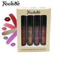 4 Pieces/set FOONBE Brand Makeup Matte Lipstick Kit Long Lasting Lip Gloss Set Waterproof Women Lips Make up Beauty Cosmetics