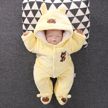 YiErYing Baby Clothes Long sleeve Thickening Warm Cotton animal Pajamas roupas Newborns rompers Outerwear Outfits suits
