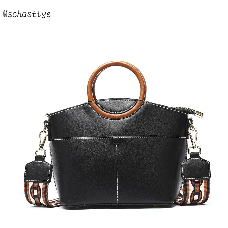 Women Leather Handbags Casual Black/Beige/Pink Tote bags Crossbody Bag TOP-handle bag With Ring Handle Shoulder Messenger Bags
