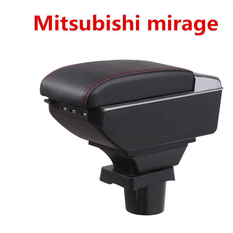 For Mitsubishi mirage Space Star armrest box central Store content Storage box with cup holder ashtray USB interface