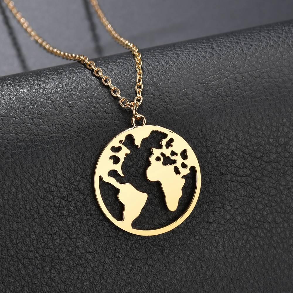 Модное винтажное ожерелье золотого цвета с изображением карты мира, ожерелье для женщин, Геометрическая круглая цепочка, очаровательное ко...