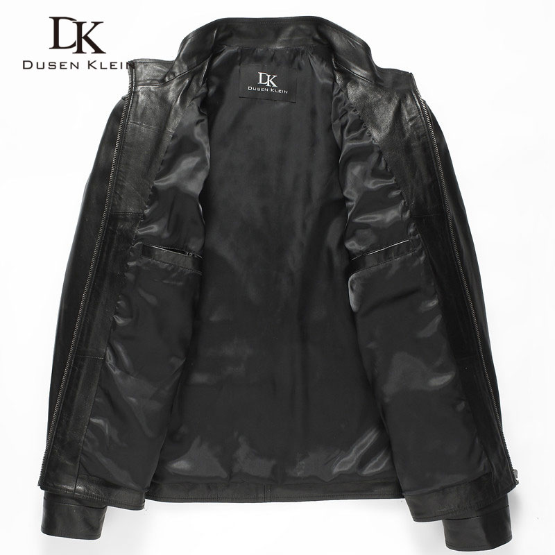 Luxury Man Genuine sheepskin leather jacket Brand Dusen Klein men slim Designer spring leather coats Black Luxury Man Genuine sheepskin leather jacket Brand Dusen Klein men slim Designer spring leather coats Black/Brown 14B0109