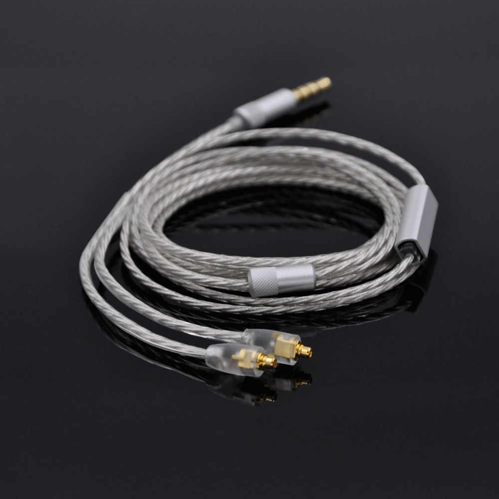 Wooeasy X4 pojedyncze posrebrzane kabel ulepszony kabel do słuchawek dla Shure SE425 SE215 SE315 UE900 W40 HD598 słuchawki kabel Audio
