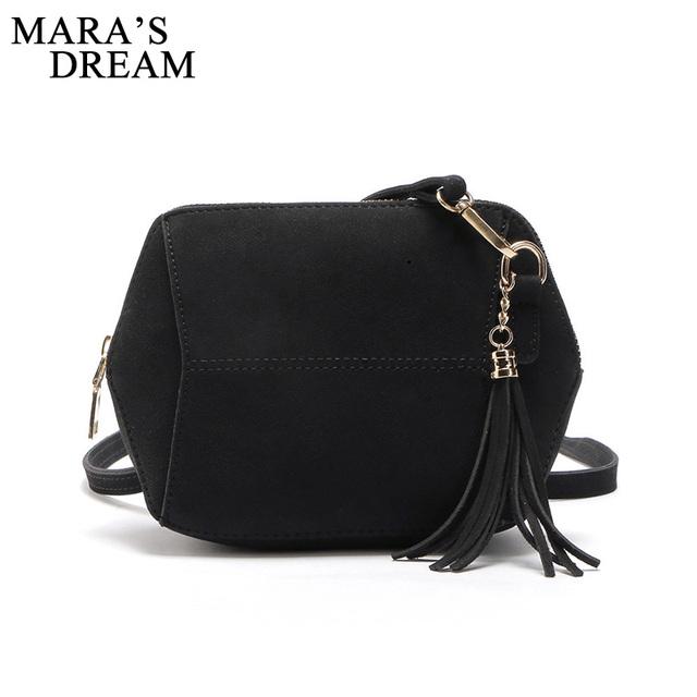 Mara's Dream 2017 Womens Leather Shoulder Bag Satchel Solid Color Zipper Tassel Handbag Tote Crossbody Bags Coin Shell Bag
