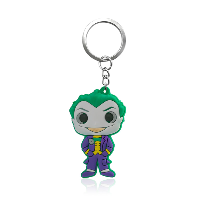 1pcs Joker Action Figure Key Chain Anime Key Ring Cool Superhero Keychain Fashion Key Holder Kids Gift Party Favor