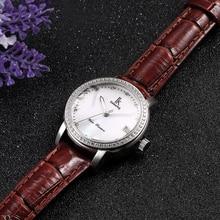 New Ladies Leather Crystal Diamond Rhinestone Watches Women Beauty Dress Wristwatch Hours Reloj Mujer With Gift Box