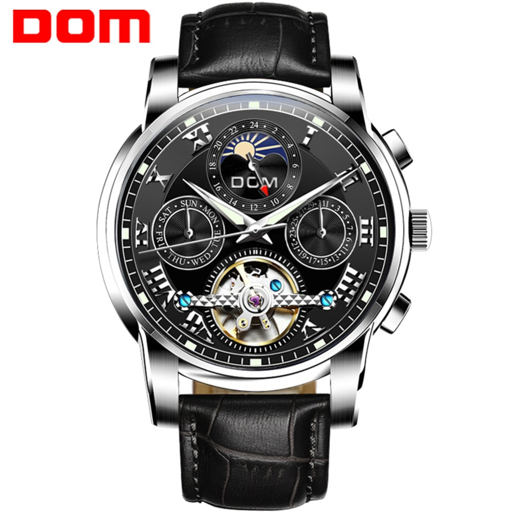 Men Watches DOM Brand Mechanical Sport Waterproof Leather Luxury Fashion Wristwatch Relogio Masculino M-75L-1M mechanical watches sport dom watch men waterproof clock mens brand luxury fashion wristwatch relogio masculino m 75l 2m