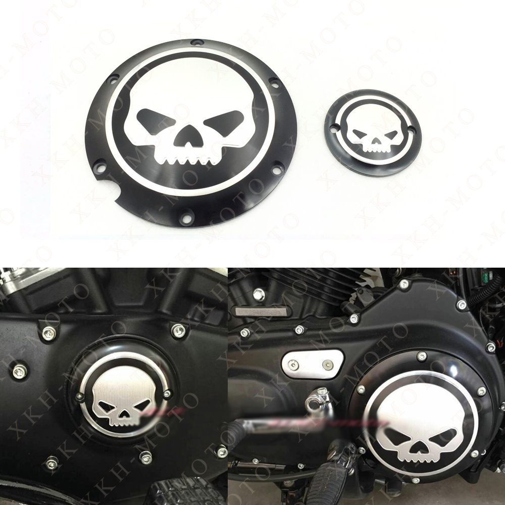 Aftermarket Skull Engine Derby Timer Cover For For Harley Davidson XL1200C Sportster 883 XL 1200X Forty-Eight Seventy Two Roadst mtsooning timing cover and 1 derby cover for harley davidson xlh 883 sportster 1986 2004 xl 883 sportster custom 1998 2008 883l