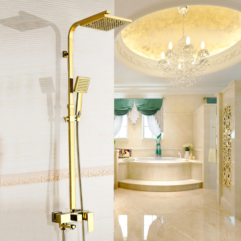 Bathtub Faucets Luxury Gold Brass Bathroom Faucet Mixer Tap Wall Mounted Hand Held Shower Head Kit Shower Faucet Sets luxury gold brass bathroom faucet bath faucet mixer tap wall mounted hand held shower head kit shower faucet sets sf1033