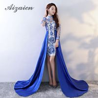 Oriental Style Dresses Blue And White Porcelain Qipao Wedding Long Cheongsam Summer Women Sexy Flowers Chinese Traditional Dress