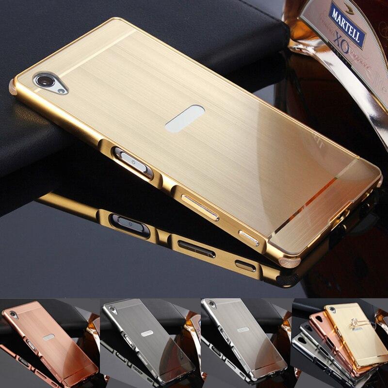 Funda de teléfono para Sony Xperia xzs/xz/X Compact/X/XA ultra alambre del metal dibujo efecto de acrílico casos de la cubierta protectora