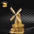 3d puzzles modelo de construção do modelo em miniatura diy quebra-cabeças de metal ouro-mundo famosos edifícios inteligência brinquedos moinho de vento holandês