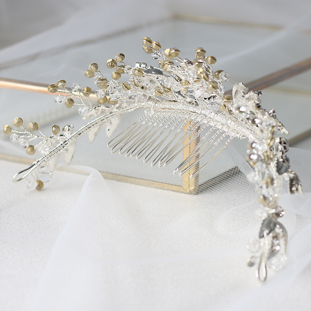 Image 2 - ASNORA Bridal Headbands with Combs Wedding Hair Accessories Headdress for Brides Metal Leaf with Crystals Beads Women Hair Bands-in Hair Jewelry from Jewelry & Accessories