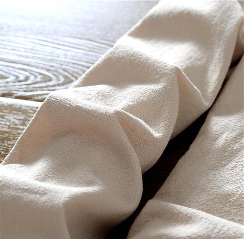 Tunique chinoise beige en lin et coton, zoom sur manche longue