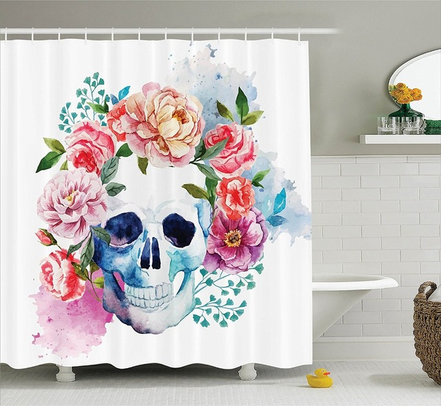 Multi Color Optional Shower Curtain Beautiful Funny Skull With Colorful  Floral Painting Polyester Fabric Blue