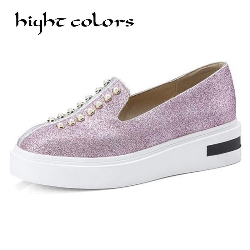 Rivet Pearls Square Toe Platform Shoes Woman New 2018 PU Leather Creepers Slip On Flats Casual Women Shoes Big Size 43 US 10.5 phyanic 2017 gladiator sandals gold silver shoes woman summer platform wedges glitters creepers casual women shoes phy3323