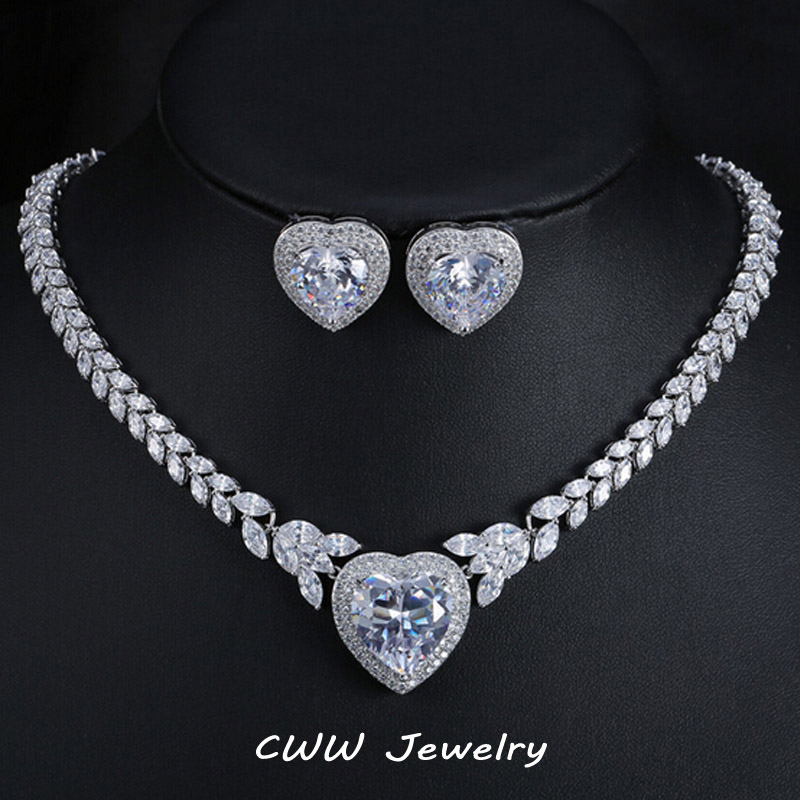 CWWZircons High Quality Women Wedding Party Gift CZ Zirconia Bridal Love Necklace And Earrings Jewelry Sets For Brides T237 cwwzircons water drop royal blue cz necklace earrings ring and bracelet 4 piece wedding jewelry set for women bridal party t098