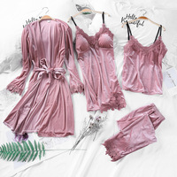 4pcs Sleep Pajamas Sexy Winter Pajamas Nightwear Women Warm Sleepwear 1547