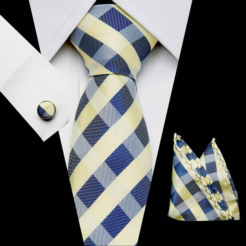 Mens New 7 5cm Classic Cotton Ties Fashion Retro Striped Ties Colorful Printed Party Neck Ties Pocket Square Cufflinks Set in Men 39 s Ties amp Handkerchiefs from Apparel Accessories