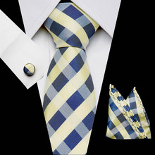 New Plaid Tie For Wedding Men's Ties Set With Hanky Cufflinks 100% Silk Men Neck Tie For Male Wedding Party Business 2019 new arrival 32styles purple black ties for men 100% silk male men s tie hanky cufflinks neck tie pocket square tie set