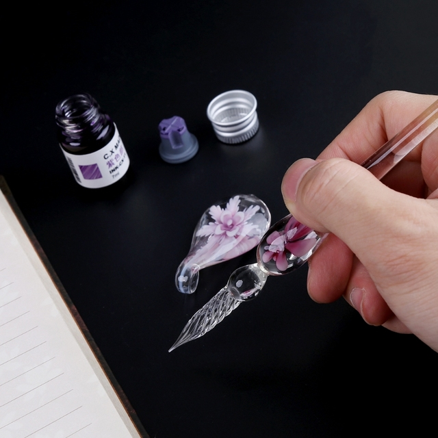 Vintage Handmade Art Elegant Crystal Floral Glass Dip Pen Sign Ink Pens Gift 2