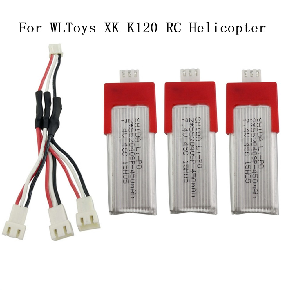 2019 Portable Suitable Charging 3Pcs 7.4V 450mah Battery With 3In1 Charging Cable For XK K120 RC  Helicopter accessories-in Parts & Accessories from Toys & Hobbies