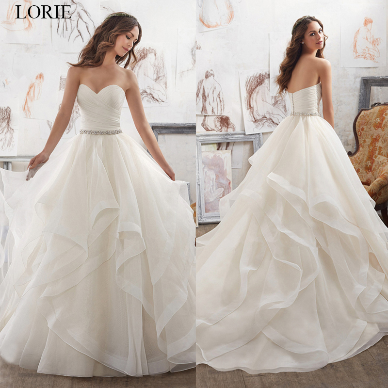 LORIE Backless Ivory/white Sashes Beading Wedding Dress 2019 A-Line Sweetheart Organza Bridal Gowns Court Train Vestido De Noiva