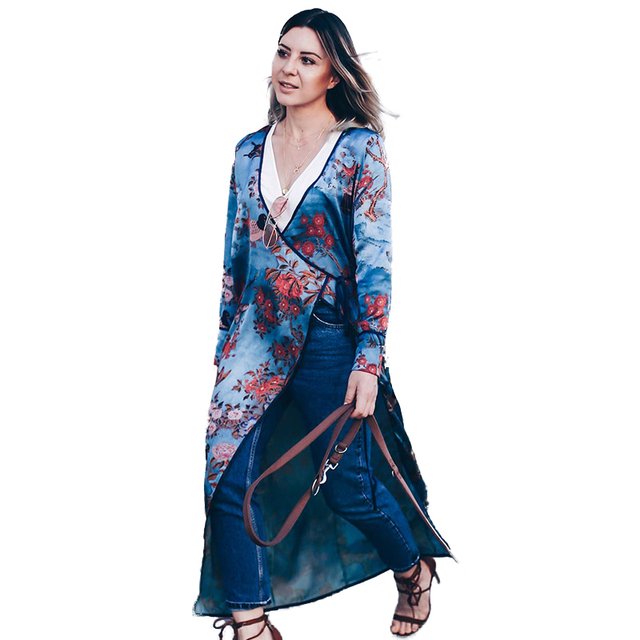 c8f44a314244e Vintage Women Plus Size Kimono Floral Bird Print V Neck Tied Ethnic Oriental  Outerwear Cover Up Cardigan Casual Long Shirt Blue