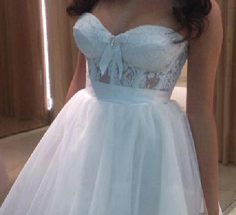 New Cheap Sweetheart White Bow Lace Tulle A Line Mini Short Wedding ...